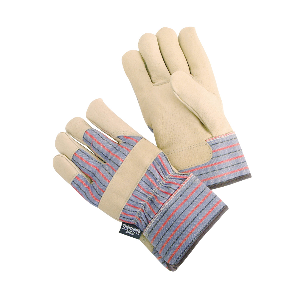 Leather work gloves with wool lining -  Ts335 Lined Pigskin With Safety Cuff Work Force