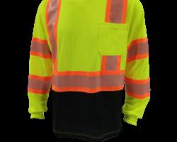 A-8342PB-hi-viz-lime-black-bottom-long-sleeve-honeycomb-reflective-stripes